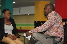 (Director,PlayHouse Arcade) Tolani Tytbones and Femi Ipadeola (Host) during the interview