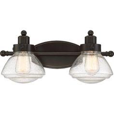Buy the Quoizel Palladian Bronze Direct. Shop for the Quoizel Palladian Bronze Scholar 2 Light Wide Bathroom Vanity Light and save. Quoizel Lighting, Wall Sconce Lighting, Sconces, Lighting Shades, Cabin Lighting, Farmhouse Lighting, Bathroom Vanity Lighting, Light Bathroom, Bathroom Ideas