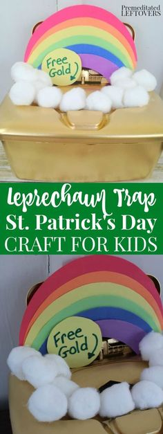 St. Patrick's Day Leprechaun Trap Craft for Kids- Little ones will love making this fun leprechaun trap idea and waiting to see if it works on St. Patrick's Day! #stpatricksday #craftsforkids #rainbow