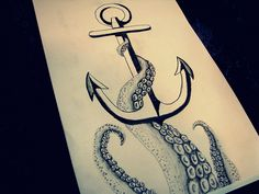 anchor and octopus tattoo