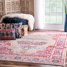 This 100-percent Polyester rug features a traditional style with a modern color palette. Constructed in a durable yet soft Polyester construction this beautiful rug will make a wonderful addition to any room.