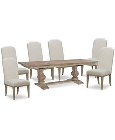 Upgrade your space with this rustic casual Rachael Ray dining table set, whose table recalls old-world farmhouse styling and is modernized with the clean lines of the six side chairs and a sun-bleached finish. Dining Table Online, Dining Table In Kitchen, Trestle Dining Tables, Dining Chairs, Dining Rooms, Diy Farmhouse Table, Monteverde, Upholstered Arm Chair, Dining Furniture