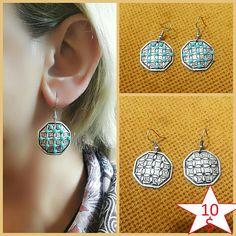 Turquoise Silver Earrings. Statement Earrings Boho Silver