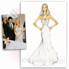Wedding gift- Custom bridal fashion illustration by Brooke Hagel