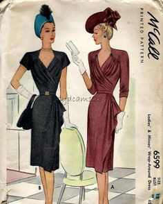 McCalls 6599  Vintage 1946 Cocktail Dress Pattern Pleated Wrap by sydcam123