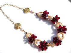 Brilliant Red and Gold Framed Pearl and by DeborahDurikDesigns, $65.00
