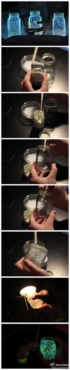 glow in the dark spots in a jar, use glow in the dark paint to paint spots in the interior of the jar. The jar can glow after it has been exposed to light for a few minutes.