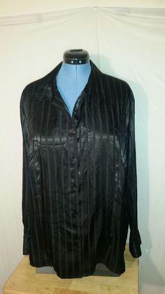 NWT Womens Covington Black Long Sleeve Button Up Blouse Shiney Wet Look 26W PLUS #Covington #ButtonDownShirt