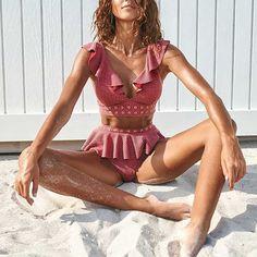 2019 New High Waist Bikini Swimwear Women Swimsuit Push Up Bikinis Women Bathing Suit Biquini Ruffle Bikini Summer Beach Wear. Sexy Bikini, Bikini Modells, Bikini Push Up, Haut Bikini, High Cut Bikini, Bikini 2018, Frill Bikini, Bikini Bottoms, Tankini