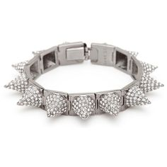 CC Skye Punk Princess Pave Spike Bracelet in Silver found on Polyvore