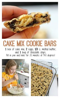 Cake Mix Cookie Bars Recipe with 4 Ingredients This might just be the easiest recipe for kids to bake! 1 box of cake mix, 2 eggs, c. melted butter and 1 bag of chocolate chips. Pat in a pan and bake for 20 minutes at 350 degrees. These cookie bars are Cookie Recipes For Kids, Cake Mix Cookie Recipes, Cookies For Kids, Box Cake Recipes, Super Cookies, Brownie Recipes, Köstliche Desserts, Delicious Desserts, Dessert Recipes