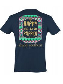 Simply Southern Happy Girls Tee - Navy from Chocolate Shoe Boutique