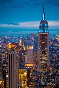 Cities Photograph - Empire State Blue Night by Inge Johnsson