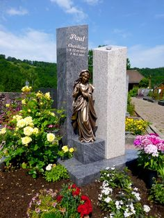 Michelau-1 Tombstone Designs, Grave Monuments, Travelers Rest, Famous Graves, Cemetery Art, Angel Statues, Baby Memories, Funeral Flowers, Garden Sculpture