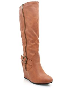 knee high buckled wedge boots $31.80