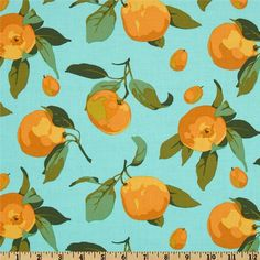Market Mix Citrus Turquoise from @fabricdotcom  Designed by Martha Negley for Westminster Fibers, this fabric is perfect for quilting, apparel and home décor accents. Colors include orange, olive, evergreen and light orange on a turquoise background.