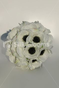 Simple Modern White Anemone Poppy Wedding Bridal Bouquet