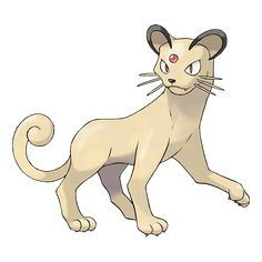 Persian - 053 - A very haughty Pokémon. Among fans, the size of the jewel in its forehead is a topic of much talk. Its lithe muscles allow it to walk without making a sound. It attacks in an instant.  @PokeMasters