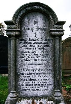 grave in St James church, Rawcliffe of Harold and Mina Chantry, who perished in the Lusitania tragedy