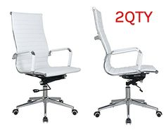 Eames high back office chair white Pleather - stabilizing swivel bar and knee tilt with tensioner knob. Sold in a (PACK of 2)