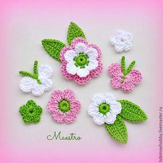Crochet Leaves, Crochet Motifs, Crochet Flowers, Crochet Stitches, Crochet Hooks, Crochet Baby, Crochet Butterfly Pattern, Crochet Flower Tutorial, Applique Patterns