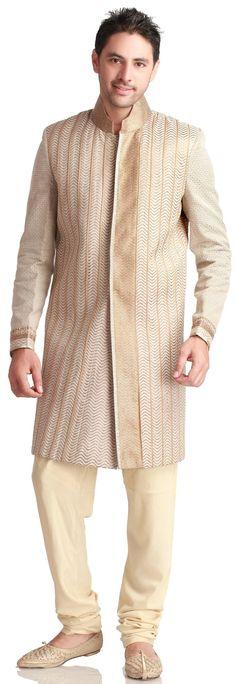 Gold Pinstripe #Sherwani - MEN'S WEAR