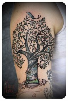 detailed small tree tattoo | Tree and house tattoo.. Similar to what I want on my back. But want ...