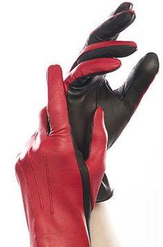 Zweifarbiger Reithandschuh aus Leder - rot / schwarz - €79.00