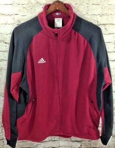 Adidas Fleece Track Jacket 'Climawarm' Full Zip Size XL Men's Maroon Black Poly #adidas #FleeceJacket #Track #Athletic #FullZip