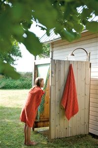 Cozy Swedish Cottage Outdoor showers can be as grand or simple. But they make life fun, keeps the mess out of the house and feels great.