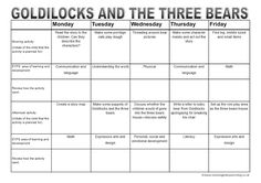 EYFS weekly lesson activity planner - Goldilocks and the three bears (includes free printable)