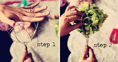 step by step how to make a fabric flower bouquet from a wisk! Good idea