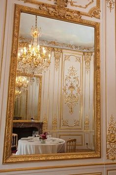 Ornate gilded mirror reflecting crystal chandelier and regal effect walls ~ beautiful artisanship Louis Seize, Interior And Exterior, Interior Design, Design Interiors, Beautiful Mirrors, Through The Looking Glass, Decoration, My Dream Home, Sweet Home