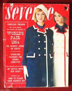 February 1964 cover with Ina Balke and Joan Delaney.My Sophomore year in High School. Sixties Fashion, Retro Fashion, Vintage Fashion, Fashion Photo, Teen Fashion, Vintage Magazines, Teen Magazines, 20th Century Fashion, Seventeen Magazine