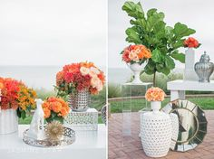 Modern Orange Eclectic Wedding Tablescape