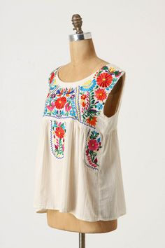 anthropologie embroidered tank