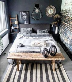 monochromatic room decor Source by guttonunesjk Decor Room, Home Decor Bedroom, Living Room Decor, Bedroom Ideas, Industrial Bedroom Decor, Mens Room Decor, Bedroom Furniture, Industrial Loft, Diy Bedroom