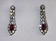 Vtg Crystal Rhinestone Dangle Earrings with ruby stone pierced  #DropDangle