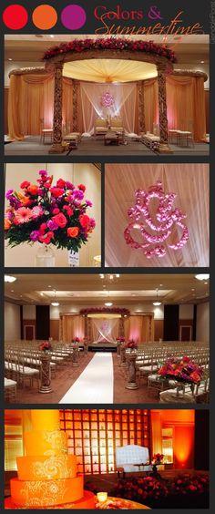 Glendale Florist | Colorful Summertime Indian Wedding and Reception, Mandap, Hanging Rose Petal Ganesh, Bright Color Scheme