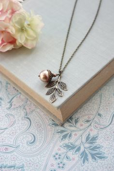 Rose Gold Acorn Pearl Leaf Necklace. Large Pearl. by Marolsha