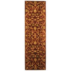 Safavieh Handmade Antiquities Kasadan Wine/ Gold Wool Rug - x Runner x Runner - Wine/Gold), Red Gold Runner, Rug Runner, Carpet Runner, Wool Area Rugs, Wool Rug, Oriental Pattern, Persian Rug, Outdoor Rugs, Runes