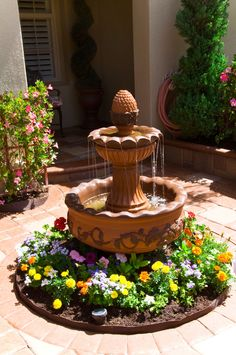 Fountain to Relax and Unwind Patio Water Fountain, Outdoor Waterfall Fountain, Backyard Water Fountains, Landscaping With Fountains, Small Fountains, Garden Fountains, Landscaping Ideas, Garden Yard Ideas, Backyard Patio Designs
