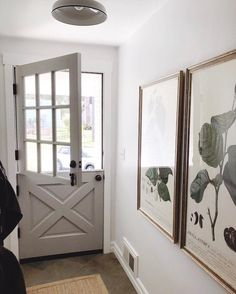Small entry hallway with gray Dutch door & botanical art // The Inspired Room