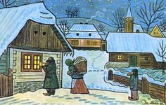 A Czech Christmas wouldn't be complete without Josef Lada's simply drawn carolers, snow-covered villages and nativity scenes. Josef Lada w. Christmas Carols Songs, The Lost World, Disney Songs, Naive Art, Silent Night, Outsider Art, Nocturne, Children's Book Illustration, Favorite Holiday