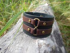 Leather wide black bracelet Infinity loop leather by RozaBracelets
