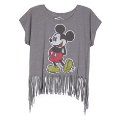 Vintage Mickey Tee With Fringe ($15) ❤ liked on Polyvore featuring tops, t-shirts, shirts, blusas, graphic tees, vintage tees, graphic tops, graphic design tees, graphic t shirts and graphic design shirts