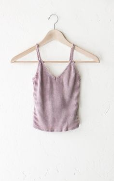 Knit V-neck Cami Crop Top - Dusty Pink from NYCT Clothing