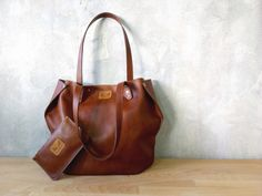 Set of brown leather tote and pouch / Leather tote / Leather pouch / Brown shoulder bag / Brown leather wallet