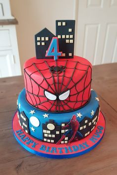 A spiderman cake made by kims cake gallery leamington spa, Warwickshire Spiderman Pasta, Spiderman Theme Party, Spiderman Birthday Cake, Baby Boy Birthday Cake, Superhero Cake, Superhero Birthday Party, 4th Birthday, Siper Man, Cake Gallery