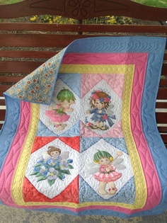 Embroidered quilt fairies